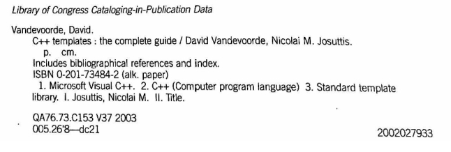 c++ Templates: The Complete Guide Cataloging Info