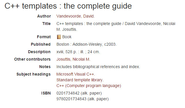 Library Catalog Entry for C++ Templates:: The Complete Guide