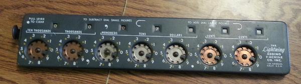 Mechanical adding machine