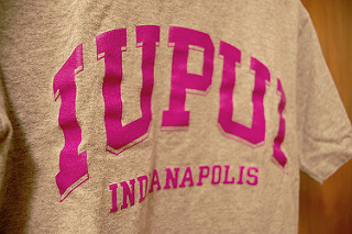 A pink and gray IUPUI t-shirt