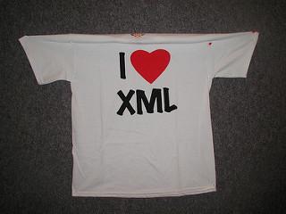 """tShirt """"I Heart XML"""""""